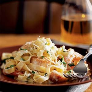 Seafood Fettucine alfredo, from Cooking Light, with crab, shrimp, and scallops. Absolutely delicious!!!