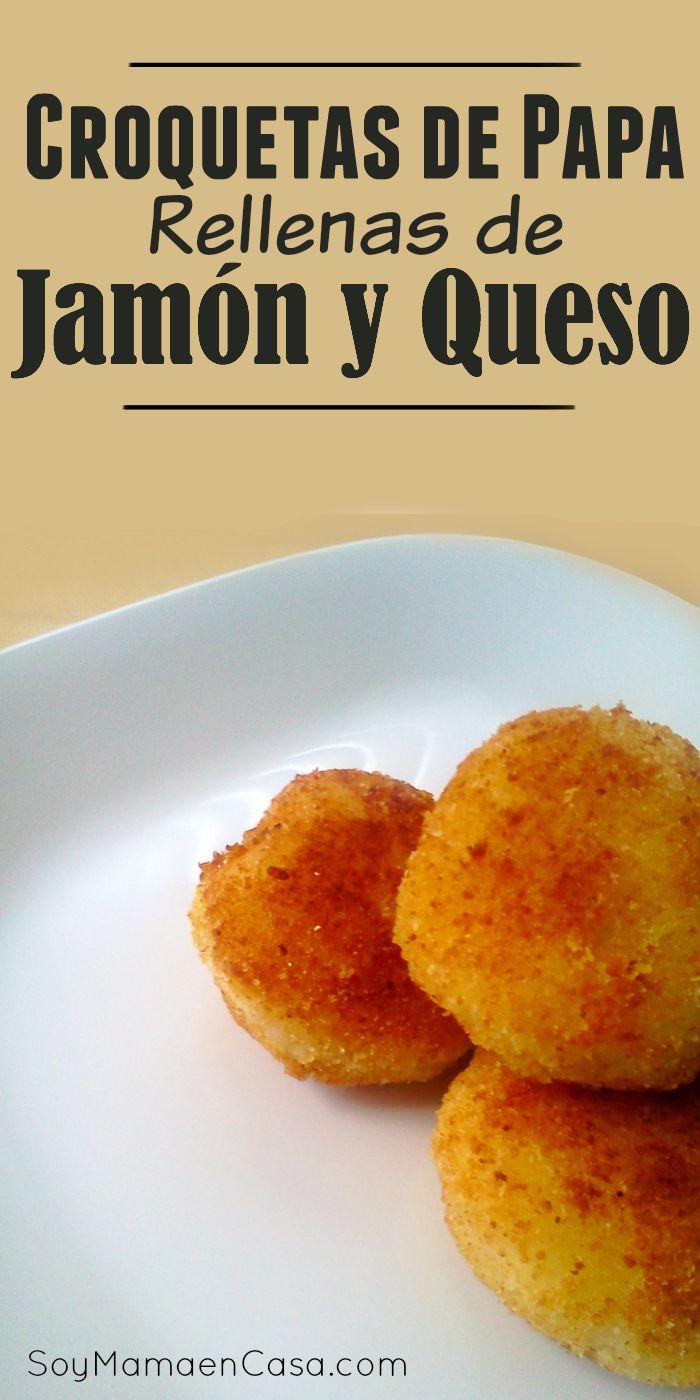 Una #receta para preparar unas deliciosas #croquetas de #papa rellenas de jamón y queso
