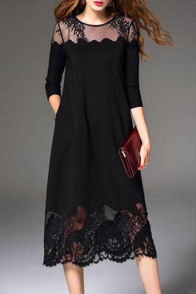 Daipya Black Lace Spliced Midi Dress | Midi Dresses at DEZZAL