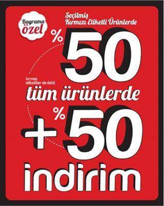 14 -18 Ekim tarihleri arasında #Erasta Esse'de Bayrama özel kırmızı etiketli ürünlerde %50 indirime ek; kırmızı etiketliler dahil tüm ürünlerde %50 indirim fırsatı sizleri bekliyor!