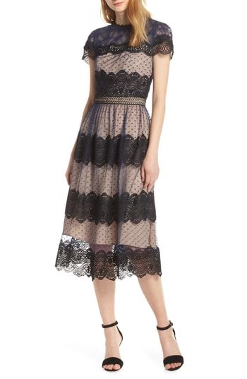 c787810aee8 Chelsea28 Mixed Lace Midi Dress in 2019