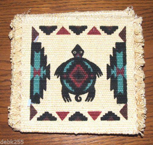 "Coasters Set of 6 absorbant cotton Southwest Turtle Clan 6x6"" Fringed  New Set of 6 absorbent coasters with Southwest turtle theme.  New. #coasters #southwest #turtle"