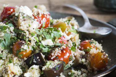 Roast eggplant, capsicum and tomato quinoa salad