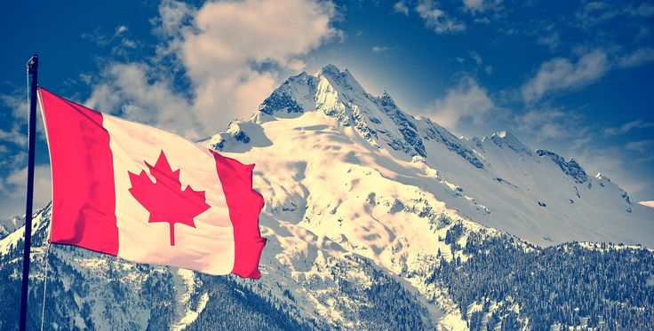 Canada flag mountain