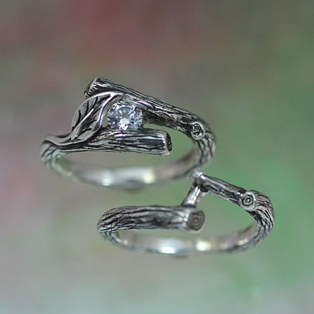 KIJANI Single Leaf - Engagement Ring, Wedding Band Set in Sterling Silver with White Sapphire