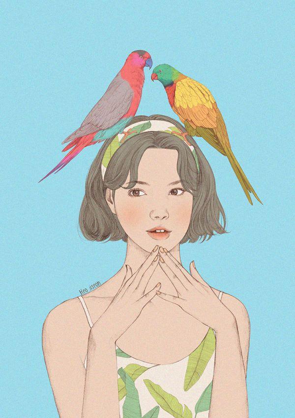 시원한 패턴 속 잎사귀를 찾아 온 앵무새 한쌍^^ 가끔 머리띠에 귀여운것들이 달려있는걸봤는데 화려한 앵무새가 얹혀져있으면 어떨까~해서 그려봤어요 :)