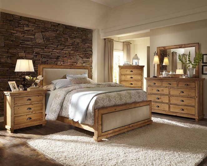reclaimed wood style bedroom set upholstered headboard willow from progressive