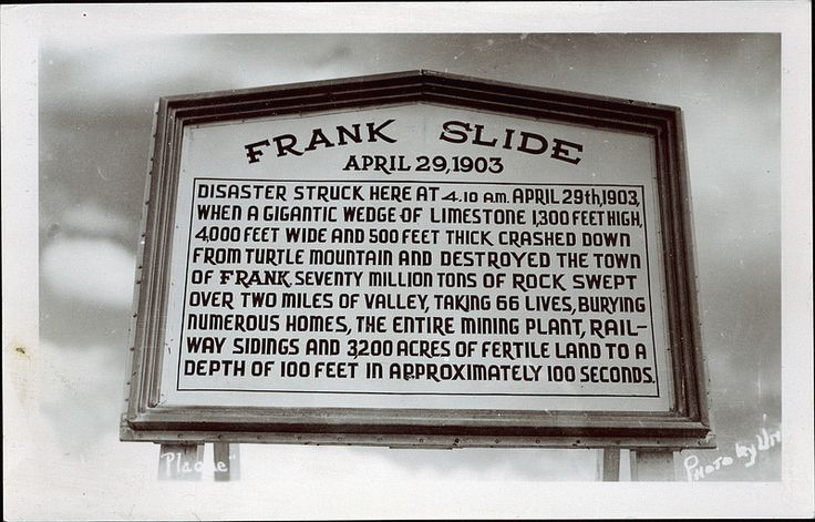 The history of Frank Slide, 1903. Drove through this area recently, and the debris that still exists is remarkable.