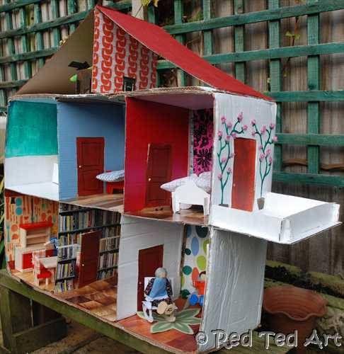 8 id es pour fabriquer une maison de poup e en carton tentures maisons de poup es et maison. Black Bedroom Furniture Sets. Home Design Ideas