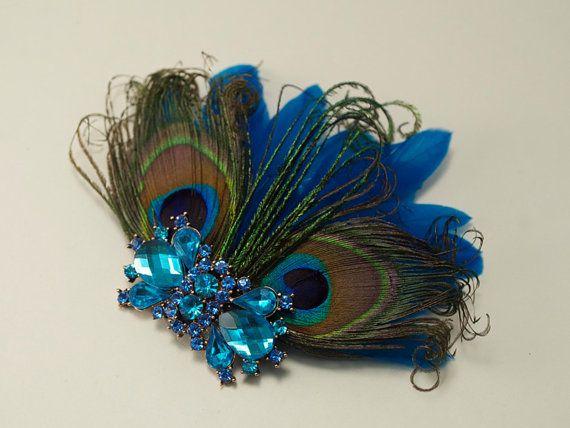 Peacock Feather Bridal Head Piece Crystal Fascinator Hair Clip from Gilded Shadows