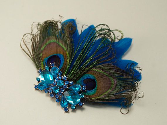 Peacock Feather Bridal Head Piece Crystal Fascinator Hair Clip from Gilded Shadows