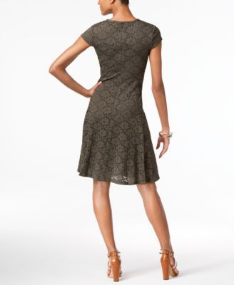 Alfani Petite Lace Fit & Flare Dress, Only at Macy's - Orange 10P