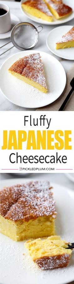 Fluffy Japanese Cheesecake - his is an easy and delicious recipe for traditional Japanese cheesecake. It's light and airy and has just the right amount of sweetness! Recipe, dessert, cake, sweets, Japanese food | http://pickledplum.com