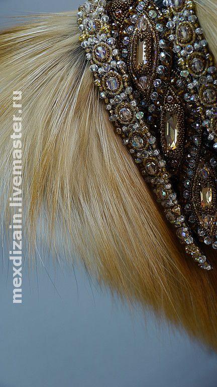 Купить горжетка GOLDEN FOX - Вышивка и мех, мех лисы, мех, кристаллы сваровски (swarovski)