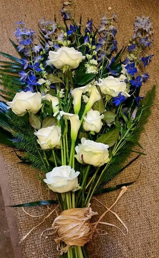 White Calla And Rose With Delphinium Funeral Flowers Sympathy Blue
