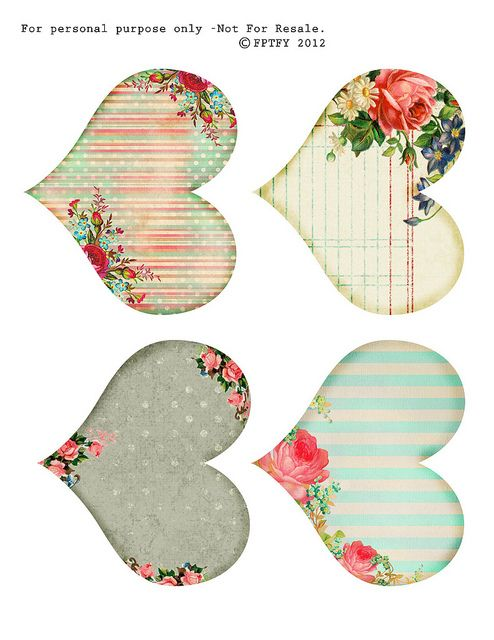 free printable shabby hearts by fptfy by Free Pretty Things For You!, via Flickr