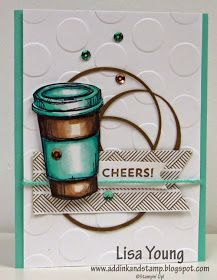 Stampin' Up! Perfect Blend, large polka dot embossing folder, Cheers - by Lisa Young