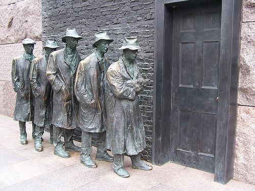 Great Depression Bread Line, depicted at the FDR Memorial