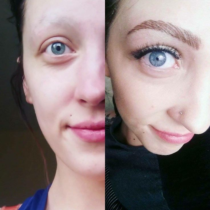 Before and after tattooed brows