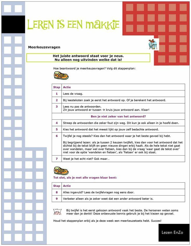 Hoe ga je meerkeuzevragen te lijf? #ikleerleren met dit stappenplan! Meer #leertips op http://www.pinterest.com/ekkomikndrcch/leren-leren/ of volg gewoon alle borden van ekkomi via http://www.pinterest.com/ekkomikndrcch/