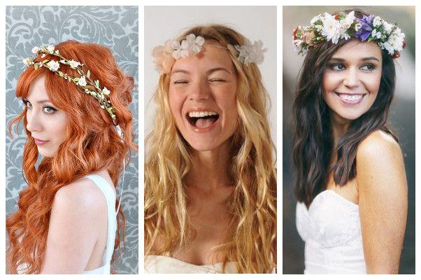 corona fiori matrimonio capelli sciolti