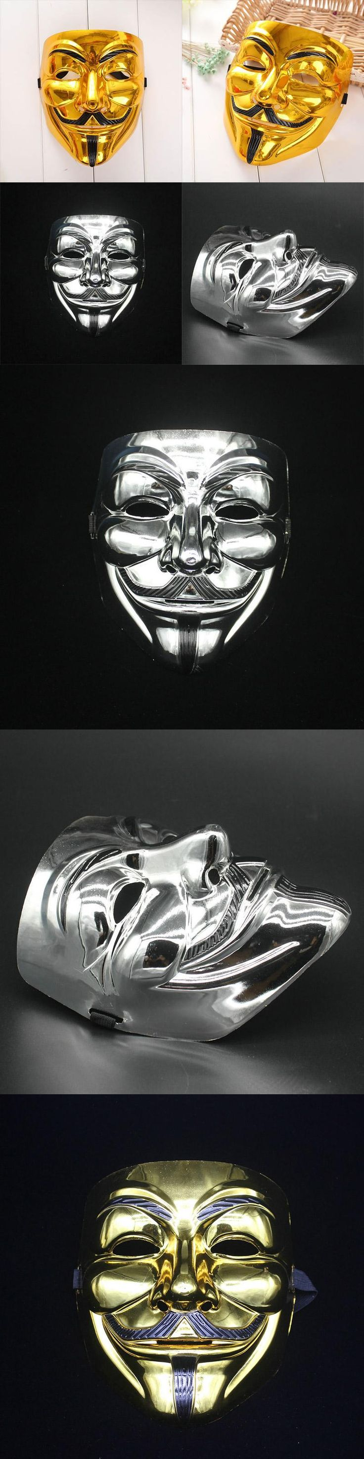 New Creative Gold/Silver V for Vendetta Mask Anonymous Halloween Cosplay Costumes Party Supplies Hot-Sale
