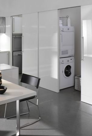 "Spatia, Italian #kitchen Arclinea...washer and dryer ""hiding"" behind a kitchen wall, may just work"