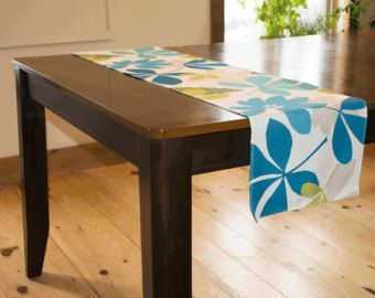 Table runner, centro tavola, Sala da pranzo, biancheria da tavola, tessuto turchese Feuillus, dimensioni personalizzabili