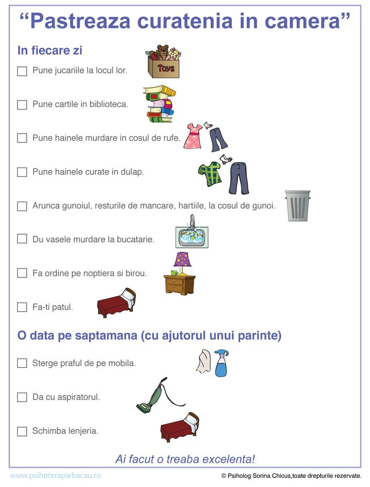 Pastreaza curatenia in camera. Checklist pentru copii.
