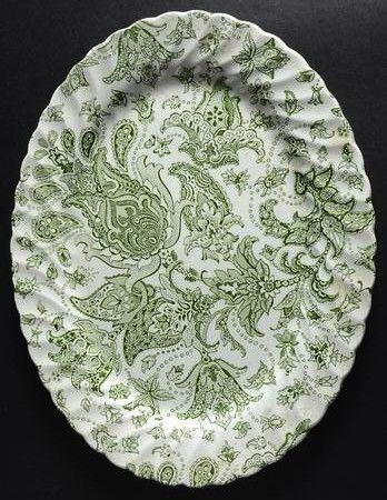 Vintage Green English Transferware Platter Scottish Paisley Toile Flor