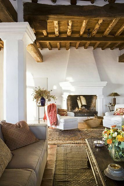 ♡ I love the exposed wood beam ceiling, though it takes a lot of work to dust, especially if you have a wood stove!