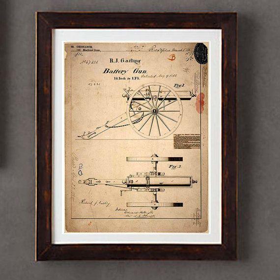 "Poster Art Print: -  ""Vintage Gatling Gun Blueprint "" - 8 x 10 poster print, Historical Weapons, Military guns, Civil War Gun"