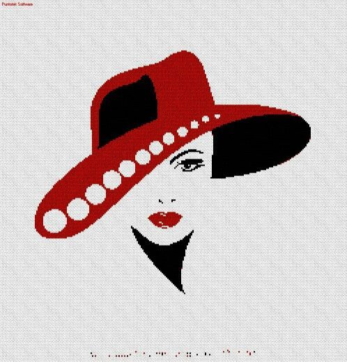 0 point de croix femme au chapeau rouge - cross stitch lady with red hat