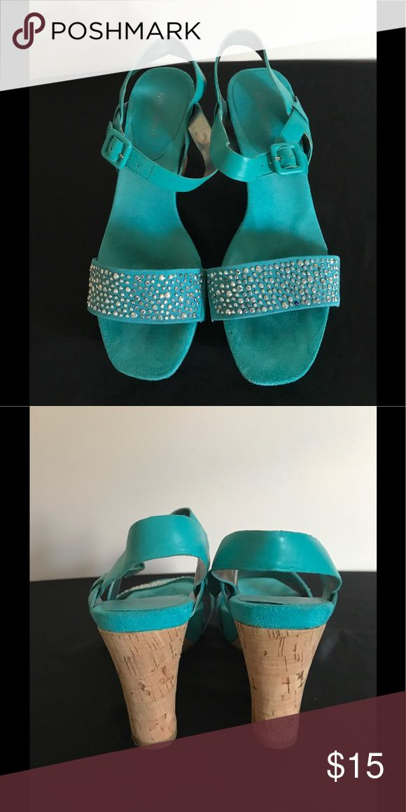 Nine West Turquoise wedge sandals Gently worn wedge sandal with silver studded detail on strap Nine West Shoes Sandals