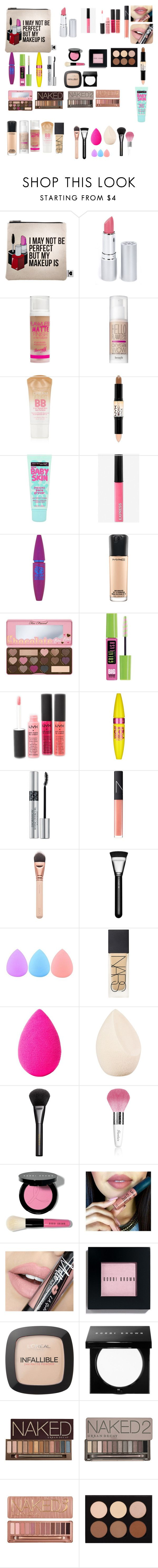"""""""Makeup bag must haves"""" by fashiongirl101hannah ❤ liked on Polyvore featuring Sephora Collection, HoneyBee Gardens, Barry M, Benefit, Maybelline, NYX, Express, MAC Cosmetics, Too Faced Cosmetics and Christian Dior"""