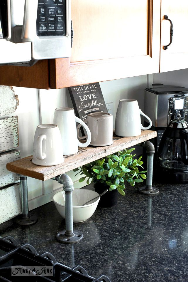 Industrial pipe and reclaimed wood mini coffee station made in minutes! Pipe fittings and an old plank are all you need! Lettered with Old Sign Stencils