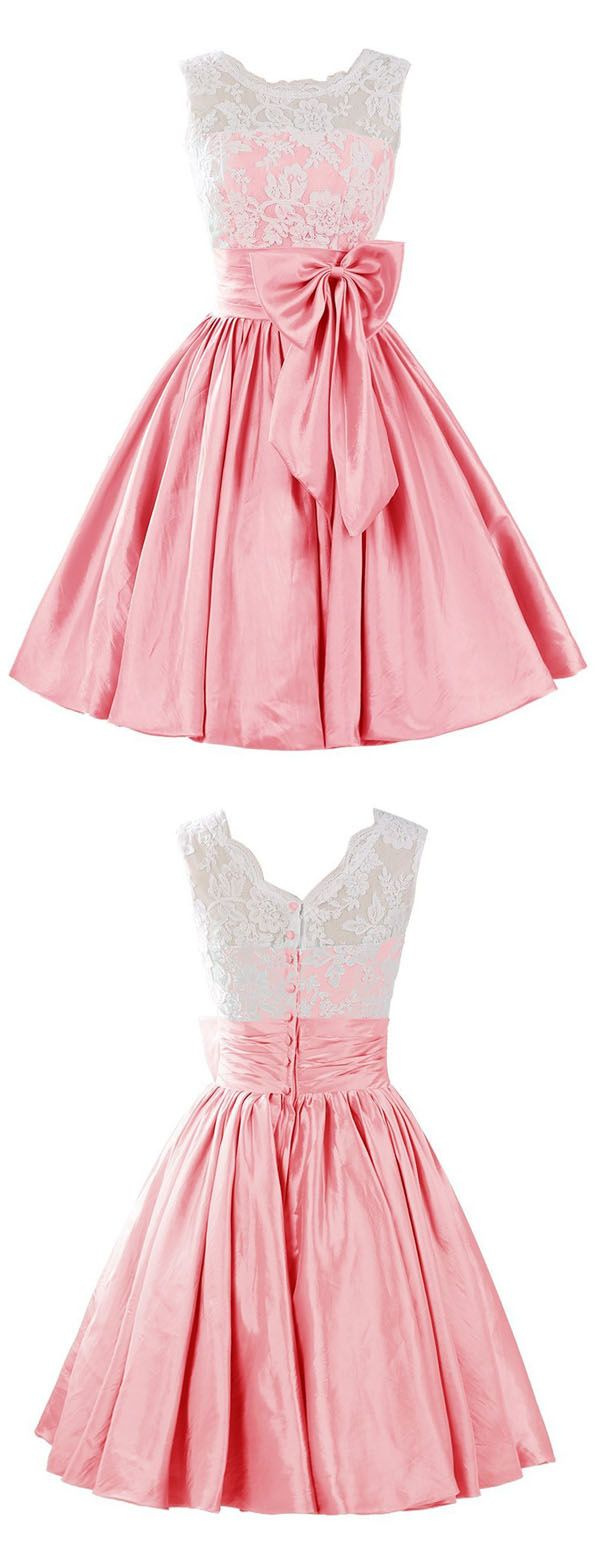 Cute A-line Scoop Short Pink Satin Homecoming Dress With Bowknot Lace