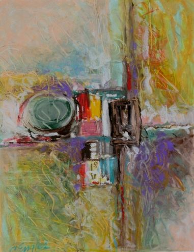 oil pastel art | Cityscape Two, oil pastel painting by Carol Engles, original painting ...