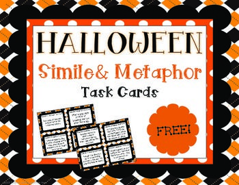 {FREE} Halloween Simile and Metaphor Task Cards Mini Set!