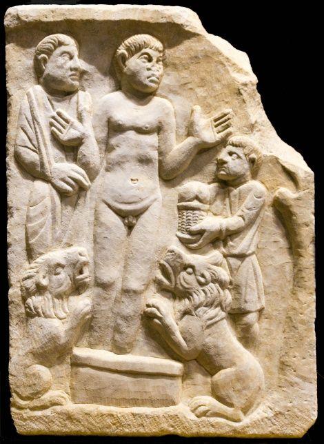 El Sarcófago de Daniel en el foso de los leones. Arte Paleocristiano, Córdoba, Museo Arqueológico, España.