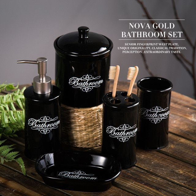Ceramic Bathroom Set Five Piece Of Bathroom Item Fashion Modern Toothbrush Holder Bathroom Accessories