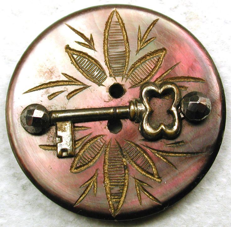 "Antique Etched Shell Button Brass Skeleton Key w/ Cut Steel Accents - 7/8"" SOLD $33.00 (2017)"