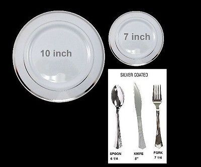 Bulk Dinner / Wedding Disposable Plastic Plates u0026 silverware white /silver rim & 8 best Wedding plastic plates images on Pinterest | Wedding parties ...