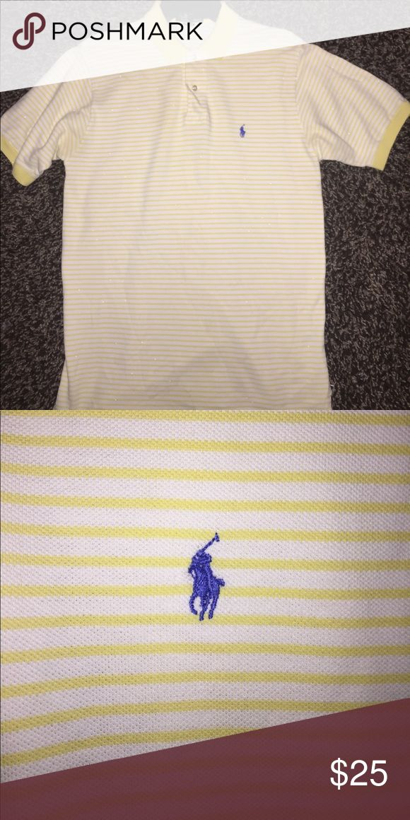 Authentic Ralph Polo Collar Shirt Mens, yellow stripe with blue emblem Polo by Ralph Lauren Shirts Polos