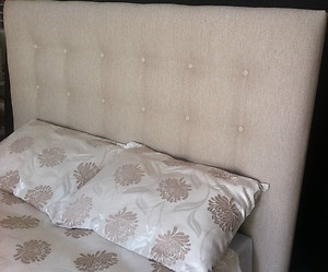 Shallow buttoned bedhead - custom made by Rainsfords Adelaide