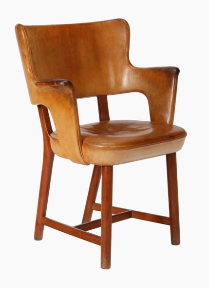 Tyge Hvass; Cuban Mahogany And Leather Armchair By Jacob Petersen For The  1937 World Exhibition