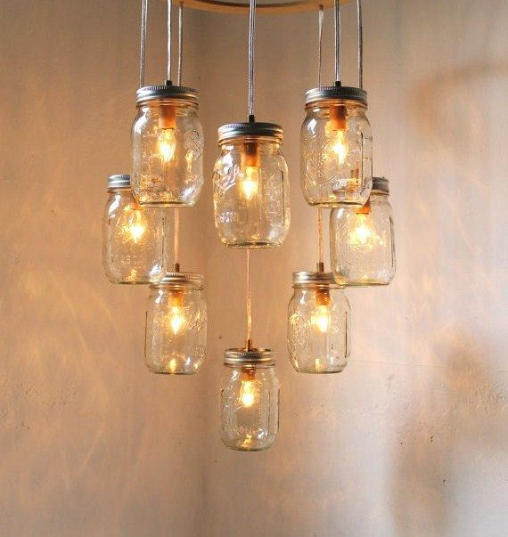Heart Shaped Mason Jar Chandelier  Romantic Country by BootsNGus