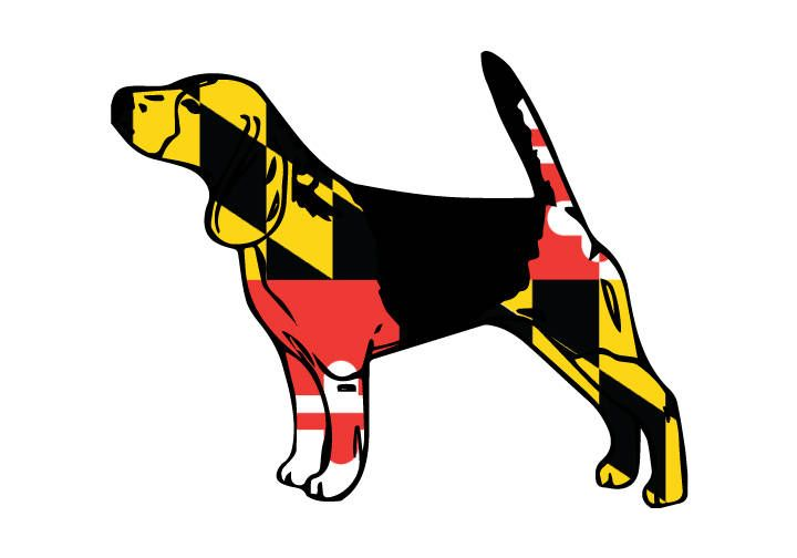 Maryland Flag Beagle Vehicle Decal Beagle Sticker Dog Decal