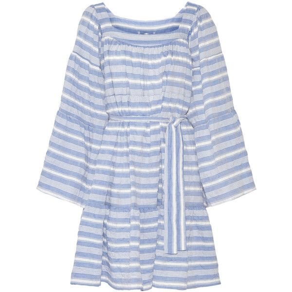 Lisa Marie Fernandez Striped cotton-blend gauze mini dress found on Polyvore featuring dresses, blue, short dresses, short beach dresses, gauze peasant dress, blue dress and peasant dresses