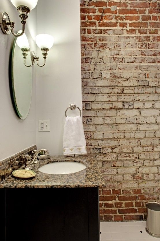Exposed brick white paint powder rooms pinterest for White exposed brick wall
